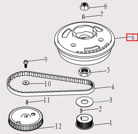 Маховик для лодочного мотора F9.8 Sea-PRO (5-6)