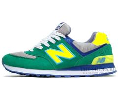 Кроссовки Мужские New Balance 574 Green Suede Yellow