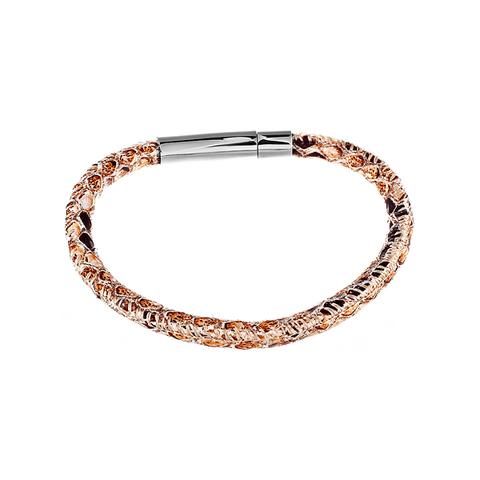 Стильный модный плетёный кожаный браслет со стальной застёжкой JV SB1037 в подарочной упаковке