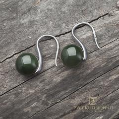 """Серьги """"Perlus"""" с зелёным нефритом. Серебро с фактурой."""