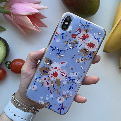 Чехол iPhone X/XS Magic Flower /blue/