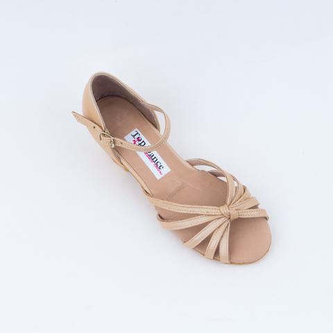 Рейтинговые туфли для девочки из бежевой кожи арт.ReTD01tk