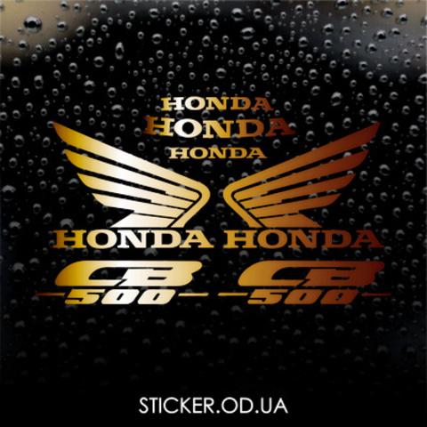 Набор виниловых наклеек на мотоцикл HONDA CB 500 (золотистый металлик)