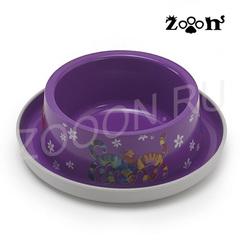 Moderna миска одинарная нескользящая Друзья навсегда с защитой от муравьев, фиолетовая 0,35л