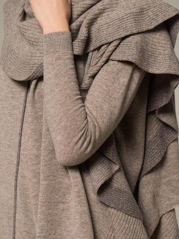 Женский шарф песочного цвета из шерсти и кашемира - фото 4