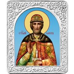 Святой Олег. Маленькая икона в серебряной раме.