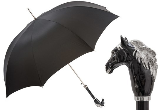 Зонт-трость Pasotti Black Horse Umbrella, Италия (арт.478 Oxf-18 K45ne).