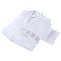 Элитный халат хлопковый Marine Striped белый с лавандовым от Hamam