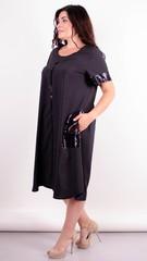 Стефания. Нарядное платье больших размеров. Черный+черный.
