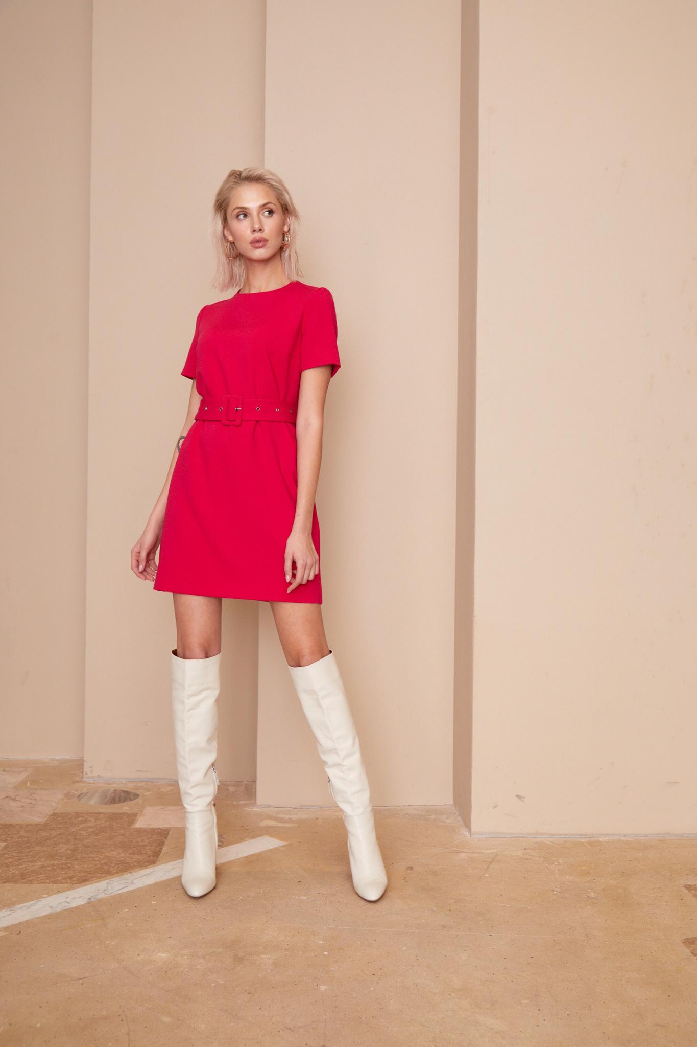 Платье мини с поясом (фуксия)