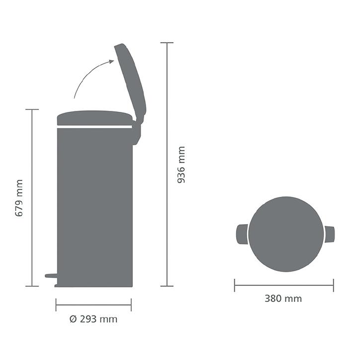 Мусорный бак newicon (30 л), Стальной полированный, арт. 114366 - фото 1
