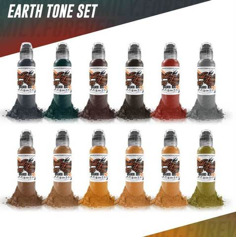 Краска World Famous Tattoo Ink Earthtone 12 Color Set