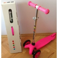 Самокат детский Scooter Mini со светящимися колесами от 1,5 до 3-х лет (Розовый).