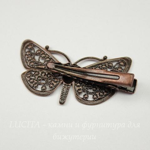 Основа для заколки с филигранной бабочкой, 43х25 мм (цвет - античная медь)