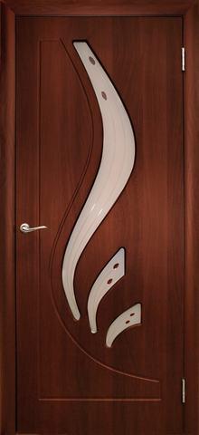 Дверь Дубрава Сибирь Лилия, цвет итальянский орех, остекленная