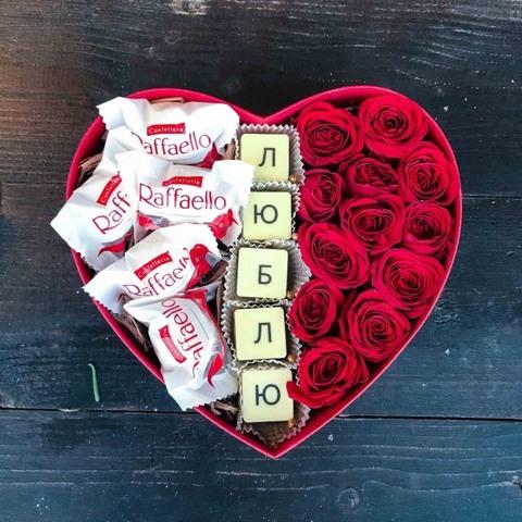 Цветы и шоколадные буквы  #19109
