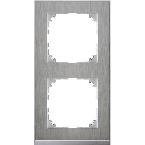 Рамка на 2 поста. Цвет Нержавеющая сталь/Алюминий. Merten. M-Pure Decor System M. MTN4020-3646