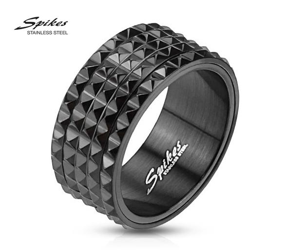 R-M2811 «Шипастое» мужское кольцо «Spikes» из стали чёрного цвета