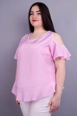 Меринда. Летняя блузка плюс сайз. Полоса розовая.
