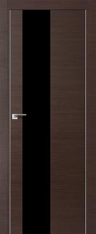 Дверь Profil Doors № 5 Z, стекло чёрный лак, цвет венге кроскут, остекленная