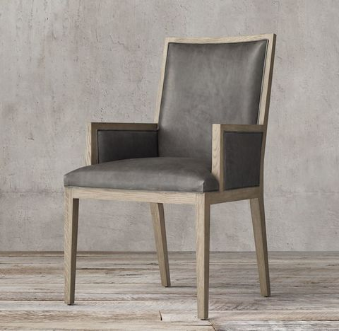 French Contemporary Square Leather Closed Armchair