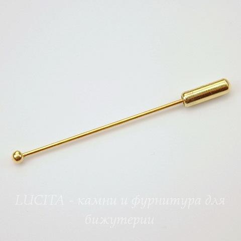 """Основа для броши """"Иголочка"""" с шариком 3 мм (цвет - золото) 51 мм"""