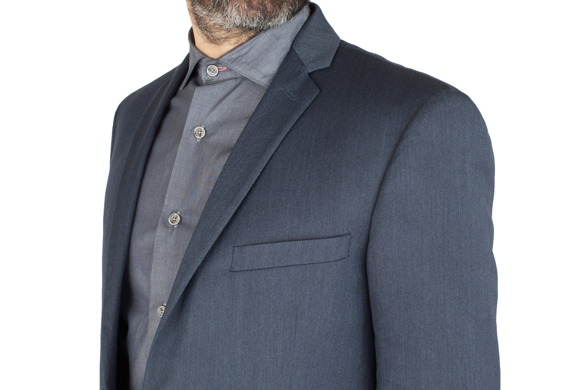Синий шерстяной костюм, нагрудный карман