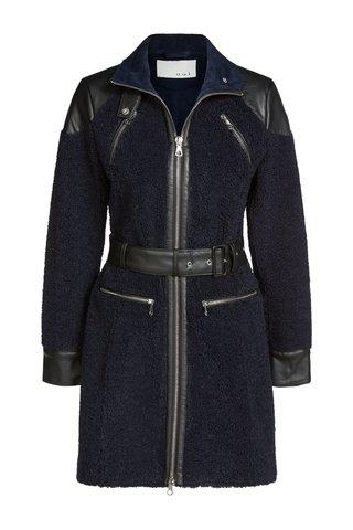Пальто прямое Oui с вставками из кожи арт.62709