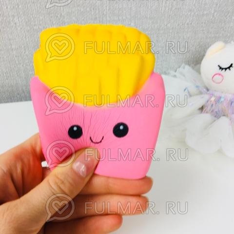 Картошка Фри Розовая Сквиши игрушка антистресс