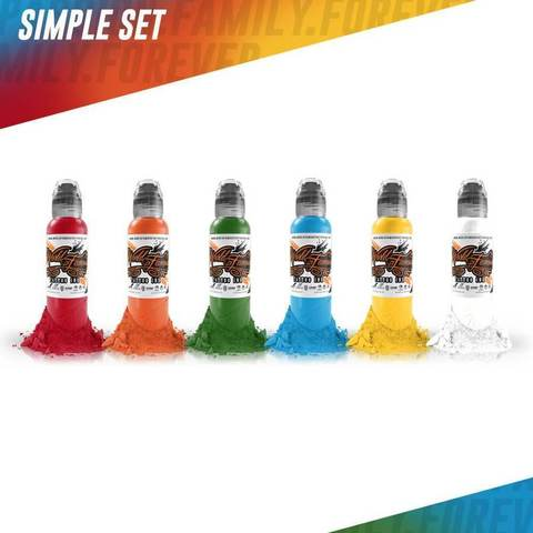 Краска World Famous Tattoo Ink  World Famous Colors Simple Set - 7шт