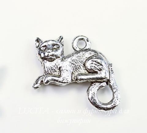 "Подвеска Quest Beads ""Кот"" (цвет-античное серебро) 17х16 мм"