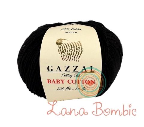 Пряжа Gazzal Baby Cotton 3433 черный