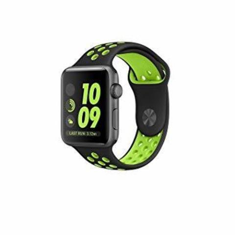 Ремешок Apple watch 42/44mm Sport Nike /black green/ черный зеленый