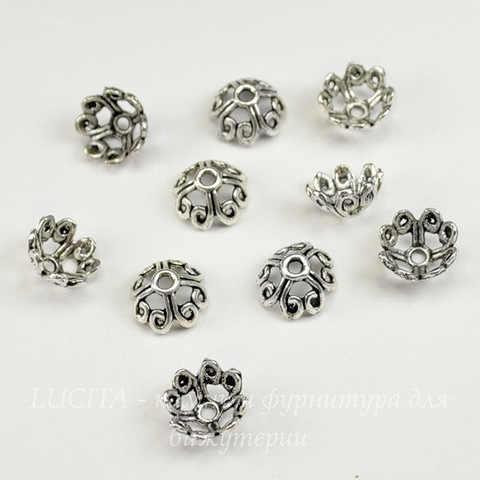 """Шапочка для бусины """"Ажурный цветок"""" (цвет - античное серебро) 10  мм, 10 штук"""
