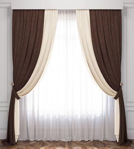 Комплект штор и покрывало Ламанш сливочный венге
