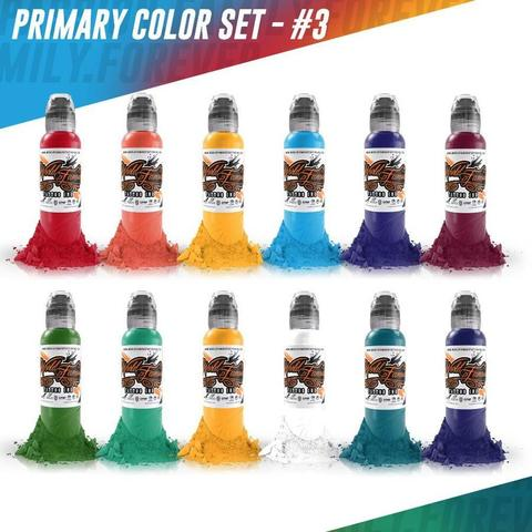 Краска World Famous Tattoo Ink  Color Primary Set #3 - 12шт