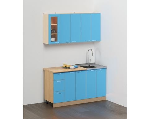 Кухня САН-МАРИНА-11 дуб беленый / синий