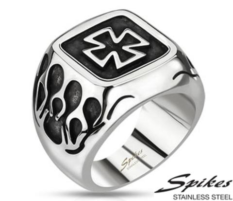 R-Q8036 Мужской перстень &#34Spikes&#34 с крестом из ювелирной стали