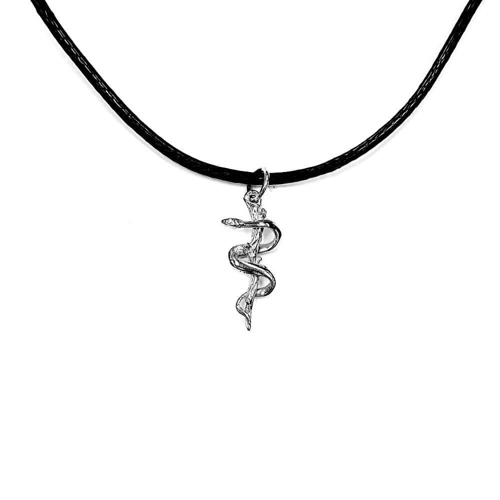Necklace Rod of Asclepius, sterling silver