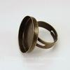 Основа для кольца с сеттингом для кабошона 23 мм (цвет - античная бронза)