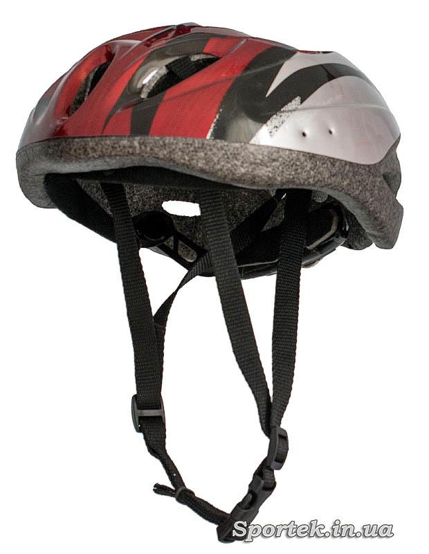 Вид крос-кантрийного велошлема красно-серого цвета с лямками