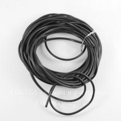 Шнур резиновый 2,5 мм с отверстием 1 мм, цвет - черный, примерно 1 м