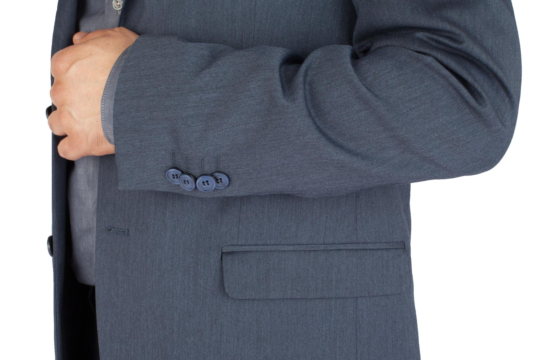 Синий шерстяной костюм, накладной карман