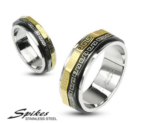 Мужское кольцо «Spikes» с золотистым и черным ободом
