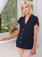 Евромама. Блуза для беременных и кормящих креп-шифон, темно-синий