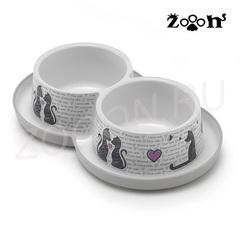 Moderna миска двойная нескользящая Влюбленные коты с защитой от муравьев, черно-белая 2х0,35 л
