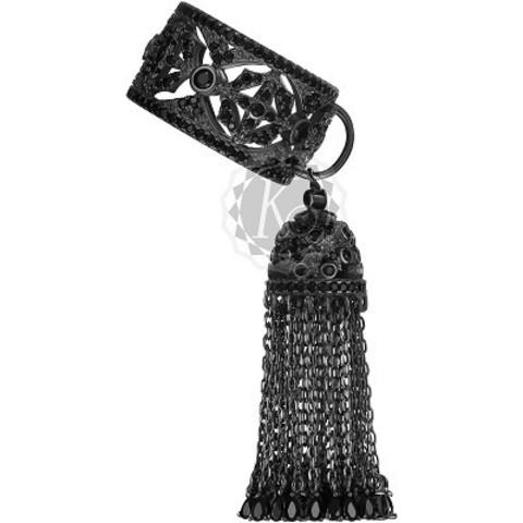 Кольцо из серебра в черном родии с кисточкой из цепочек  4650