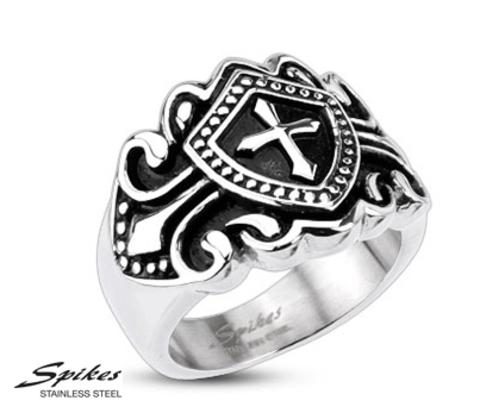 R-H3909 Мужской перстень с крестом (