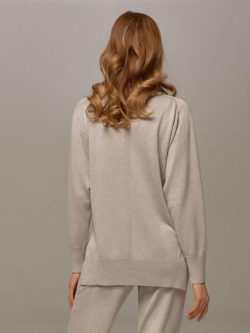 Женский джемпер цвета серый меланж из шелка и кашемира - фото 2