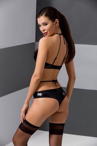 Эротический комплект белья (бюст + стринги) Navel черного цвета фото